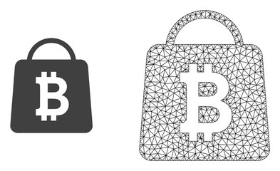 Polygonal mesh bitcoin shopping bag and flat icon are isolated on a white background. Abstract black mesh lines, triangles and nodes forms bitcoin shopping bag icon.