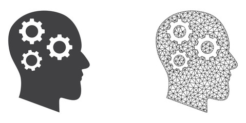 Polygonal mesh brain gears and flat icon are isolated on a white background. Abstract black mesh lines, triangles and nodes forms brain gears icon.