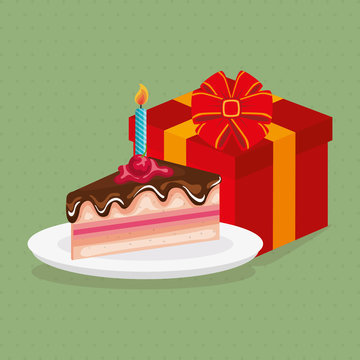 delicious sweet cake with gift birthday