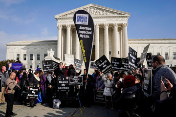 Anti-abortion marchers rally at the Supreme Court during the 46th annual March for Life in Washington