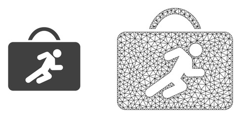 Polygonal mesh career case and flat icon are isolated on a white background. Abstract black mesh lines, triangles and nodes forms career case icon.