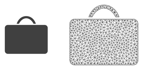 Polygonal mesh case and flat icon are isolated on a white background. Abstract black mesh lines, triangles and dots forms case icon.