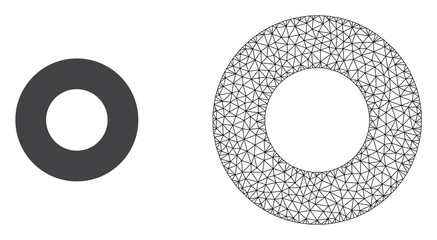 Polygonal mesh donut and flat icon are isolated on a white background. Abstract black mesh lines, triangles and dots forms donut icon.