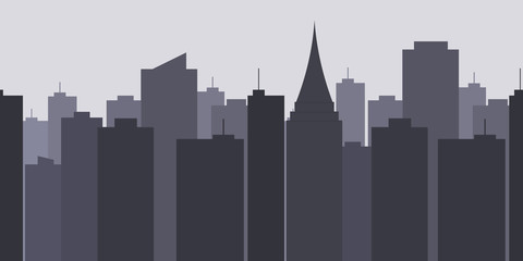 Megalopolis background.Seamless border with cute urban cityscape in the evening or at night: silhouettes of modern houses, buildings and Church or Cathedral. Vector illustration