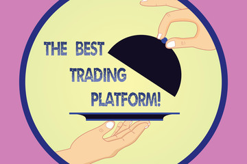 Writing note showing The Best Trading Platform. Business photo showcasing Money stock exchange excellent application Hu analysis Hands Serving Tray Platter and Lifting the Lid