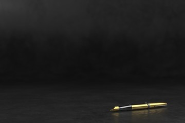 Dark blurred background with classic fountain pen. 3d rendering illustration. Pen on a dark surface.