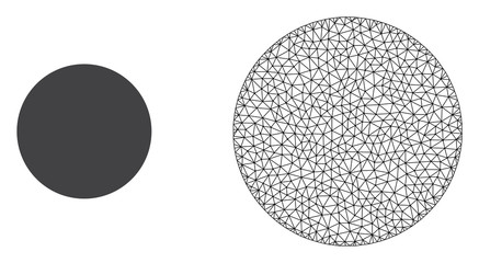 Polygonal mesh filled circle and flat icon are isolated on a white background. Abstract black mesh lines, triangles and dots forms filled circle icon.