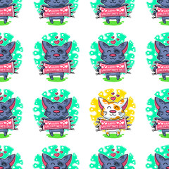 Papiers peints Creatures Vector seamless pattern about Cats in love