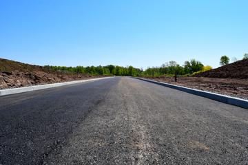 New Road Construction in Suburban New Housing Development