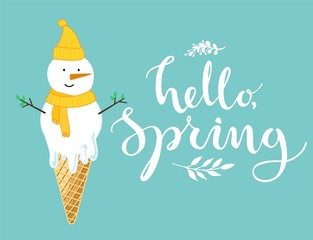 Hello spring card with melting snowman like an ice cream cone