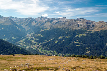 Mountains of the Swiss Alps in the Saint Luc valley on a sunny day.