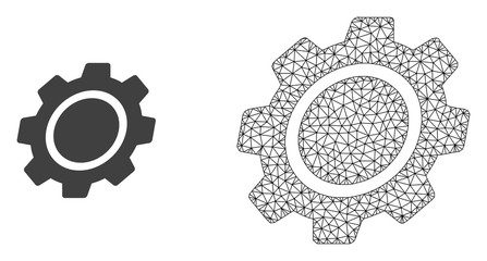 Polygonal mesh gear and flat icon are isolated on a white background. Abstract black mesh lines, triangles and dots forms gear icon.