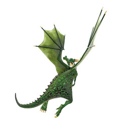 Wall Murals Dragons green dragon cartoon in a white background