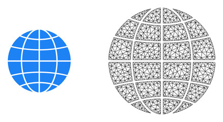 Polygonal mesh globe and flat icon are isolated on a white background. Abstract black mesh lines, triangles and nodes forms globe icon. Fotoväggar
