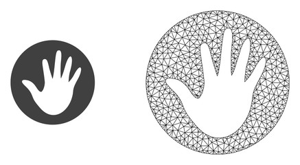 Polygonal mesh hand circle and flat icon are isolated on a white background. Abstract black mesh lines, triangles and dots forms hand circle icon.