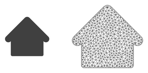 Polygonal mesh house and flat icon are isolated on a white background. Abstract black mesh lines, triangles and dots forms house icon.