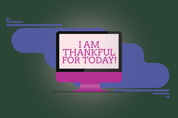 Text sign showing I Am Thankful For Today. Conceptual photo Grateful about living one more day Philosophy Mounted Computer Monitor Blank Reflected Screen on Abstract Background
