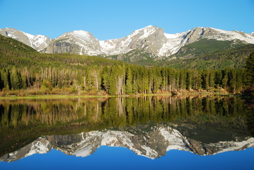 Wall Mural - Mountain reflection in Sprague lake, Rocky Mountain National Park, CO, USA
