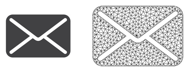 Polygonal mesh letter and flat icon are isolated on a white background. Abstract black mesh lines, triangles and nodes forms letter icon.