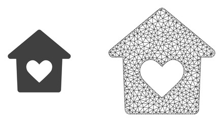 Polygonal mesh lovely house and flat icon are isolated on a white background. Abstract black mesh lines, triangles and dots forms lovely house icon.