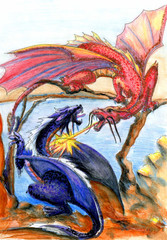 dragons battle for the territory, fantasy illustration, watercolor sketch, can be useful for illustrating children's books, fairy tales