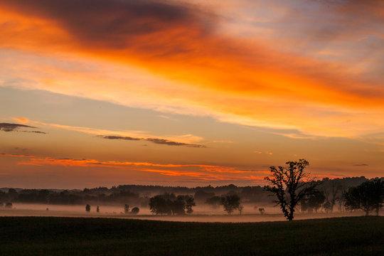 A bright orange sunset over farmland and ground fog.