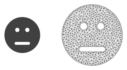 Polygonal mesh neutral smiley and flat icon are isolated on a white background. Abstract black mesh lines, triangles and nodes forms neutral smiley icon.
