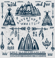 Set of vector on the theme of travel and adventure.