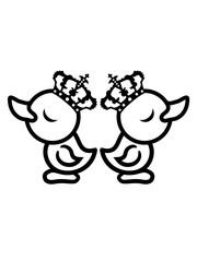 streiten beleidigt trotz 2 feinde freunde eitel könig königin prinzessin chick krone arrogant küken huhn baby vogel kleines kind süß niedlich comic cartoon clipart ente design