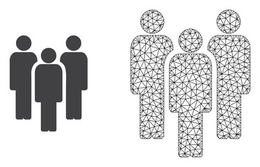 Polygonal mesh people and flat icon are isolated on a white background. Abstract black mesh lines, triangles and nodes forms people icon.
