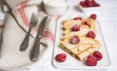 Homemade Pancakes with Raspberry and Cream Easy Food Concept Breakfast