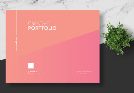 Creative Portfolio Layout with Peach Gradient Accents