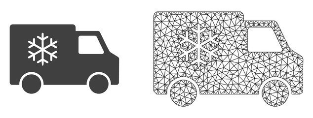 Polygonal mesh refrigerator car and flat icon are isolated on a white background. Abstract black mesh lines, triangles and dots forms refrigerator car icon.