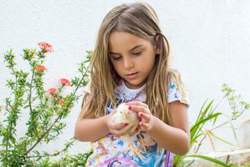Criança pintinho animal estimação