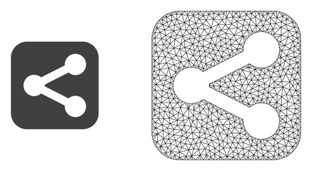 Polygonal mesh share and flat icon are isolated on a white background. Abstract black mesh lines, triangles and nodes forms share icon.