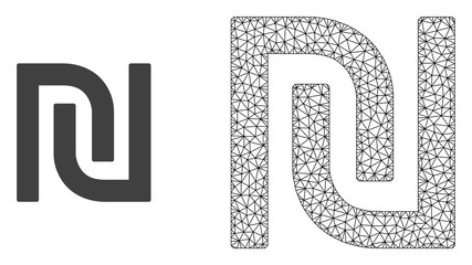Polygonal mesh shekel and flat icon are isolated on a white background. Abstract black mesh lines, triangles and dots forms shekel icon.