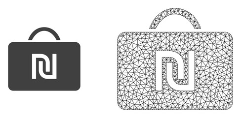 Polygonal mesh shekel case and flat icon are isolated on a white background. Abstract black mesh lines, triangles and dots forms shekel case icon.