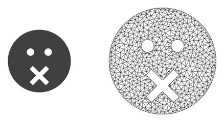 Polygonal mesh silence smiley and flat icon are isolated on a white background. Abstract black mesh lines, triangles and dots forms silence smiley icon.