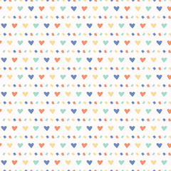 Hand drawn vector tiny heart confetti sprinkles . Seamless repeating pattern. Kawaii pastel flat color. Cute illustration for valentines day, birthday party and kids celebration backgrounds.