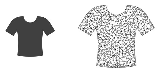Polygonal mesh t-shirt and flat icon are isolated on a white background. Abstract black mesh lines, triangles and dots forms t-shirt icon.