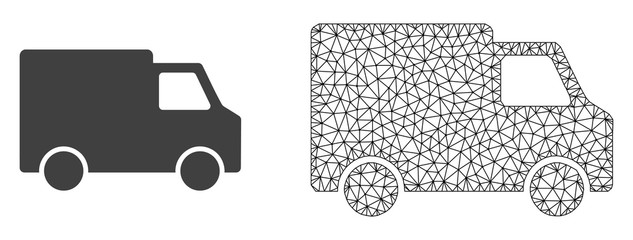 Polygonal mesh van car and flat icon are isolated on a white background. Abstract black mesh lines, triangles and dots forms van car icon.