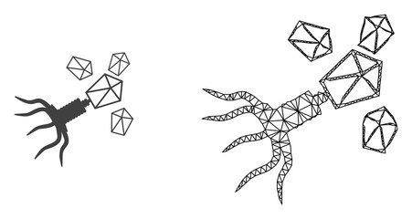 Polygonal mesh virus replication and flat icon are isolated on a white background. Abstract black mesh lines, triangles and nodes forms virus replication icon.