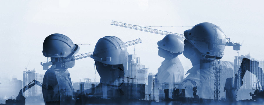 industry of construction site and engineer working