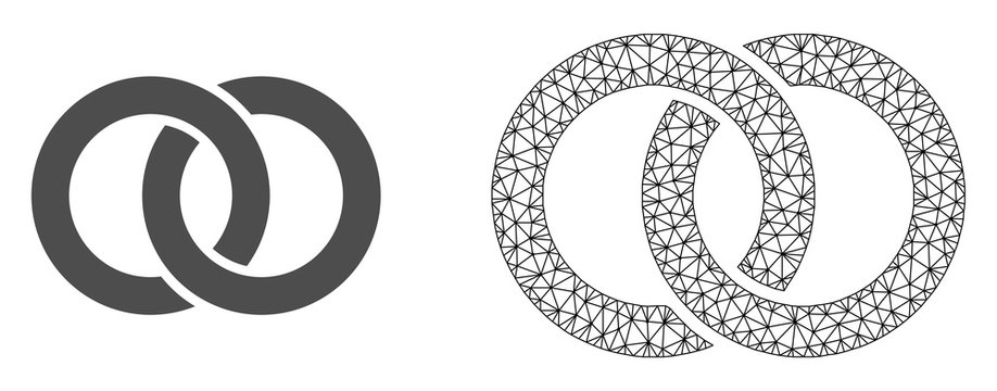 Polygonal mesh wedding rings and flat icon are isolated on a white background. Abstract black mesh lines, triangles and dots forms wedding rings icon.