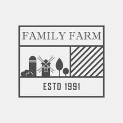 Family farm concept logo. Template with farm landscape. Label for ,organic and natural farm products. Dark logotype isolated on grey background. Vector illustration.