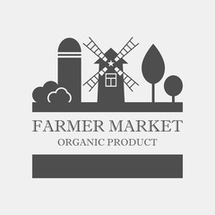 Farmer market concept logo. Template with farm landscape. Label for ,organic and natural farm products. Dark logotype isolated on grey background. Vector illustration.