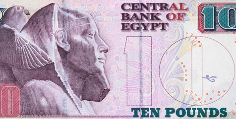 Egyptian 10 pound banknote (2003), Egypt money currency close up.
