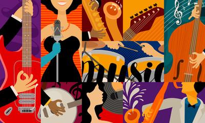 Music concept, background. Jazz festival, concert performance vector illustration