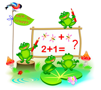 Fantasy illustration of cute little frogs learning to count numbers. Back to school. Cover for children school textbook. Vector cartoon image.