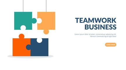 Team work business illustration concept, business hands connect puzzle, flat design vector illustration